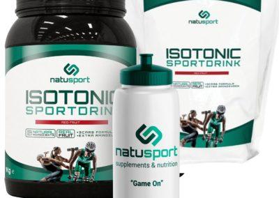 Natusport Isotonic sportdrink 1 kg rood fruit pot en navulverpakking